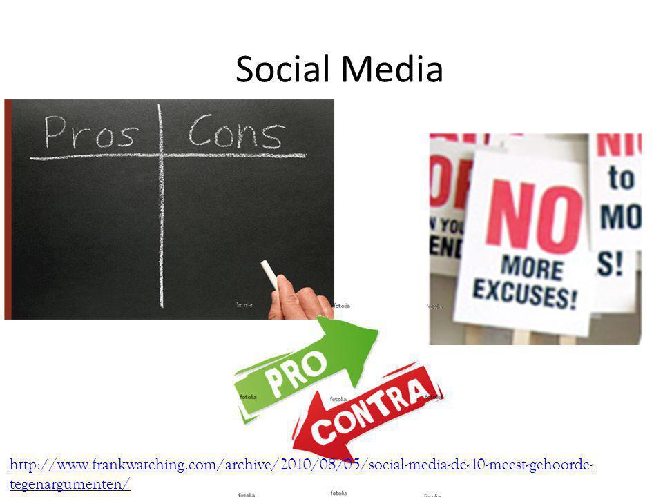Social Media http://www.frankwatching.com/archive/2010/08/05/social-media-de-10-meest-gehoorde- tegenargumenten/