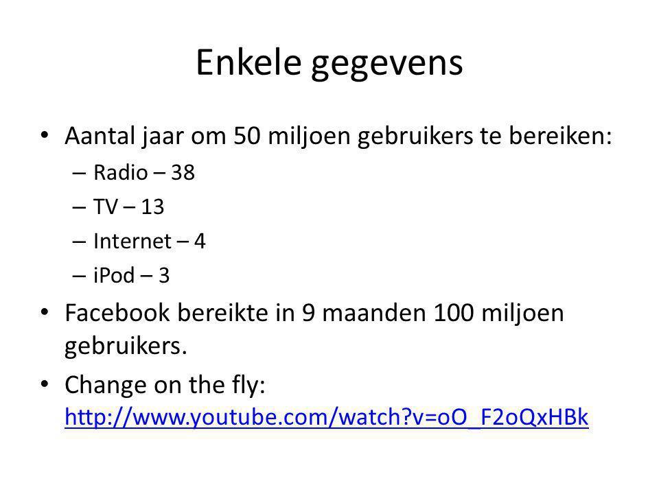Enkele gegevens • Aantal jaar om 50 miljoen gebruikers te bereiken: – Radio – 38 – TV – 13 – Internet – 4 – iPod – 3 • Facebook bereikte in 9 maanden