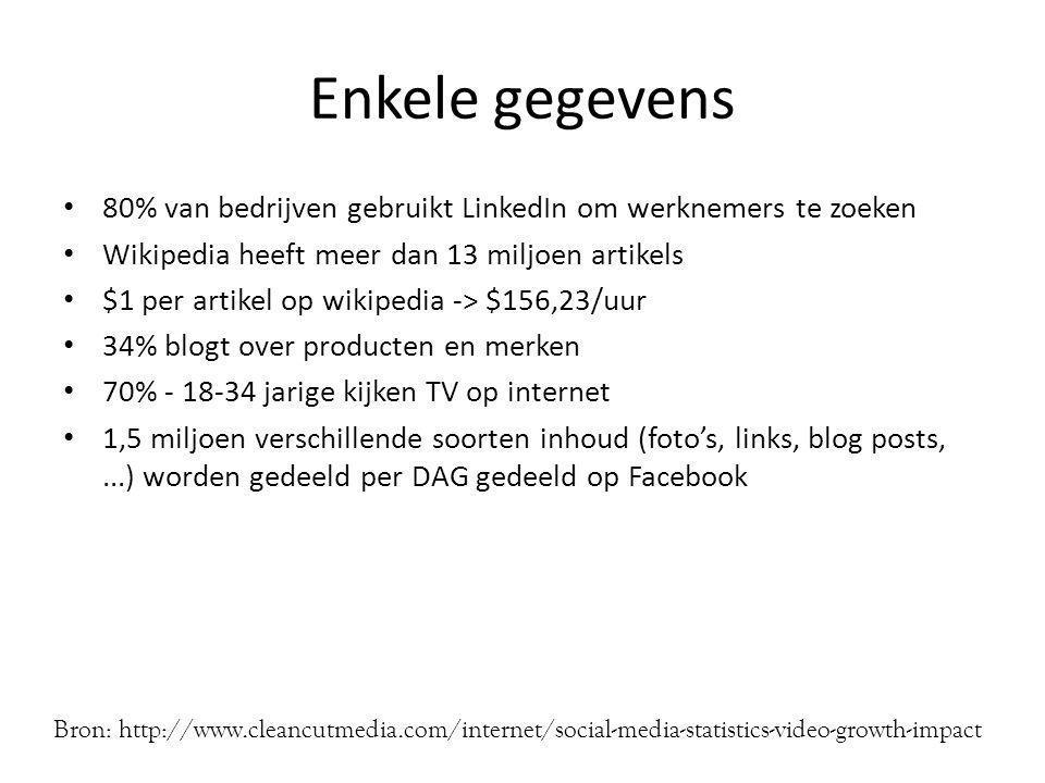 Enkele gegevens • 80% van bedrijven gebruikt LinkedIn om werknemers te zoeken • Wikipedia heeft meer dan 13 miljoen artikels • $1 per artikel op wikipedia -> $156,23/uur • 34% blogt over producten en merken • 70% - 18-34 jarige kijken TV op internet • 1,5 miljoen verschillende soorten inhoud (foto's, links, blog posts,...) worden gedeeld per DAG gedeeld op Facebook Bron: http://www.cleancutmedia.com/internet/social-media-statistics-video-growth-impact