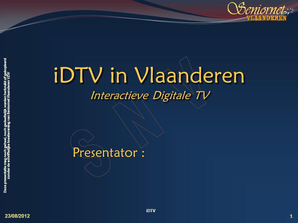 Deze presentatie mag noch geheel, noch gedeeltelijk worden herbruikt of gekopieerd zonder de schriftelijke toestemming van Seniornet Vlaanderen VZW iD