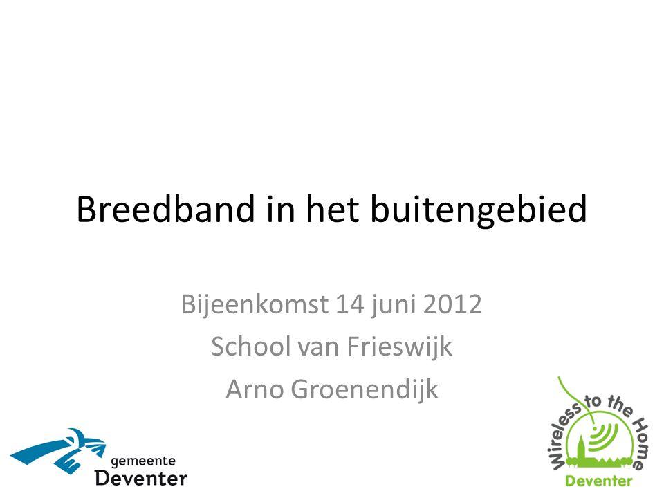 Breedband in het buitengebied Bijeenkomst 14 juni 2012 School van Frieswijk Arno Groenendijk