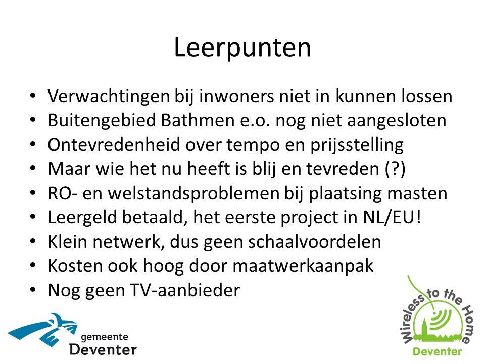 Leerpunten • Verwachtingen bij inwoners niet in kunnen lossen • Buitengebied Bathmen e.o.