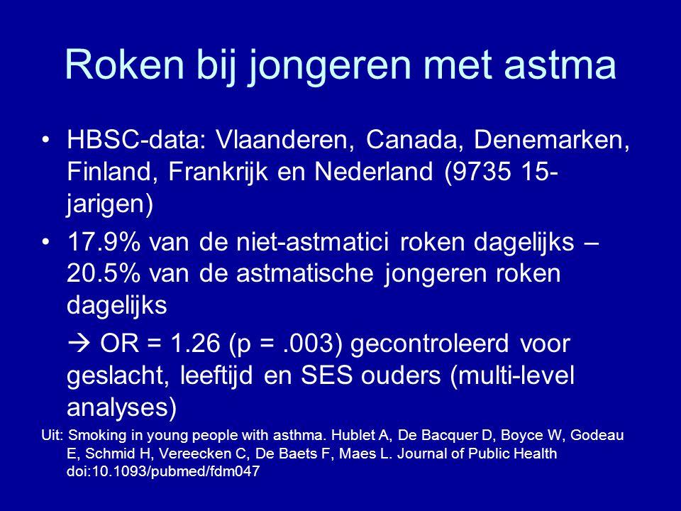 Roken bij jongeren met astma •HBSC-data: Vlaanderen, Canada, Denemarken, Finland, Frankrijk en Nederland (9735 15- jarigen) •17.9% van de niet-astmatici roken dagelijks – 20.5% van de astmatische jongeren roken dagelijks  OR = 1.26 (p =.003) gecontroleerd voor geslacht, leeftijd en SES ouders (multi-level analyses) Uit: Smoking in young people with asthma.