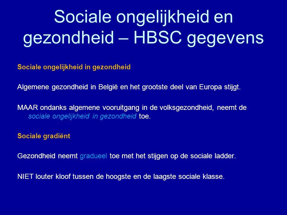 Sociale ongelijkheid en gezondheid – HBSC gegevens Sociale ongelijkheid in gezondheid Algemene gezondheid in België en het grootste deel van Europa stijgt.