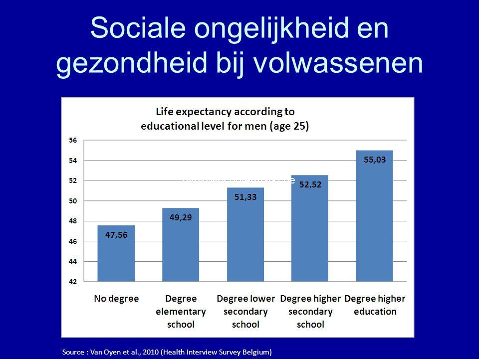 Sociale ongelijkheid en gezondheid bij volwassenen Source : Van Oyen et al., 2010 (Health Interview Survey Belgium) gvo@wgcbotermarkt.be