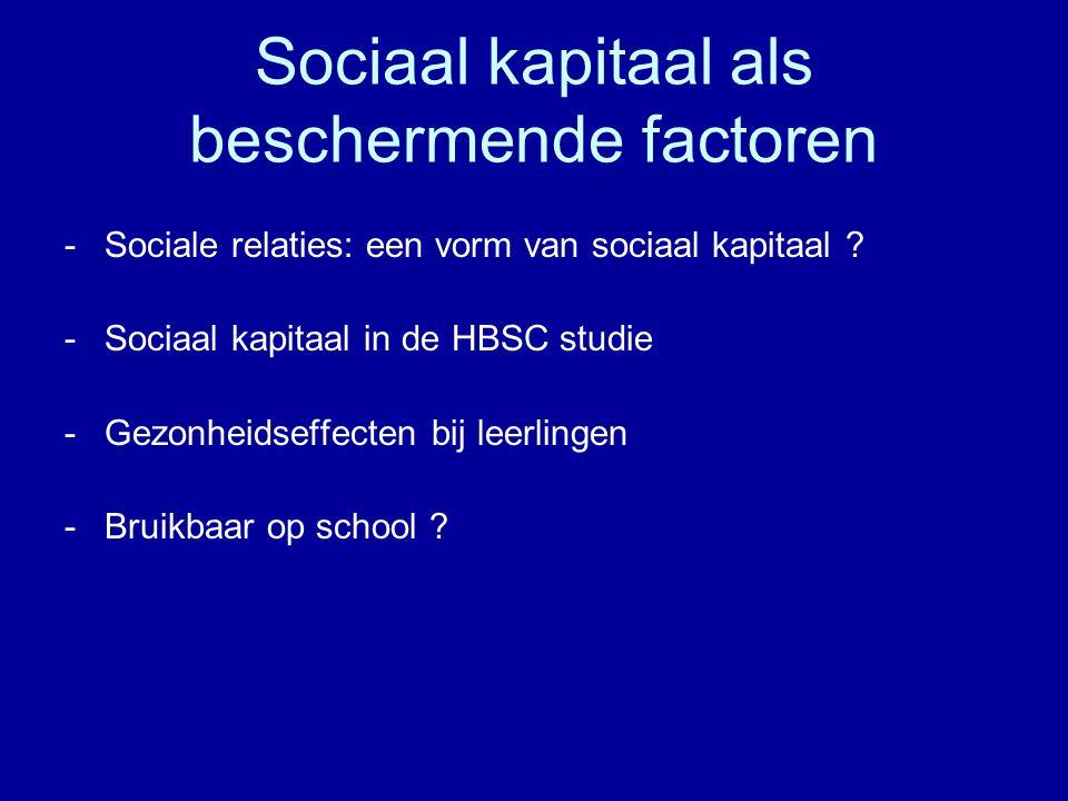 Sociaal kapitaal als beschermende factoren -Sociale relaties: een vorm van sociaal kapitaal .