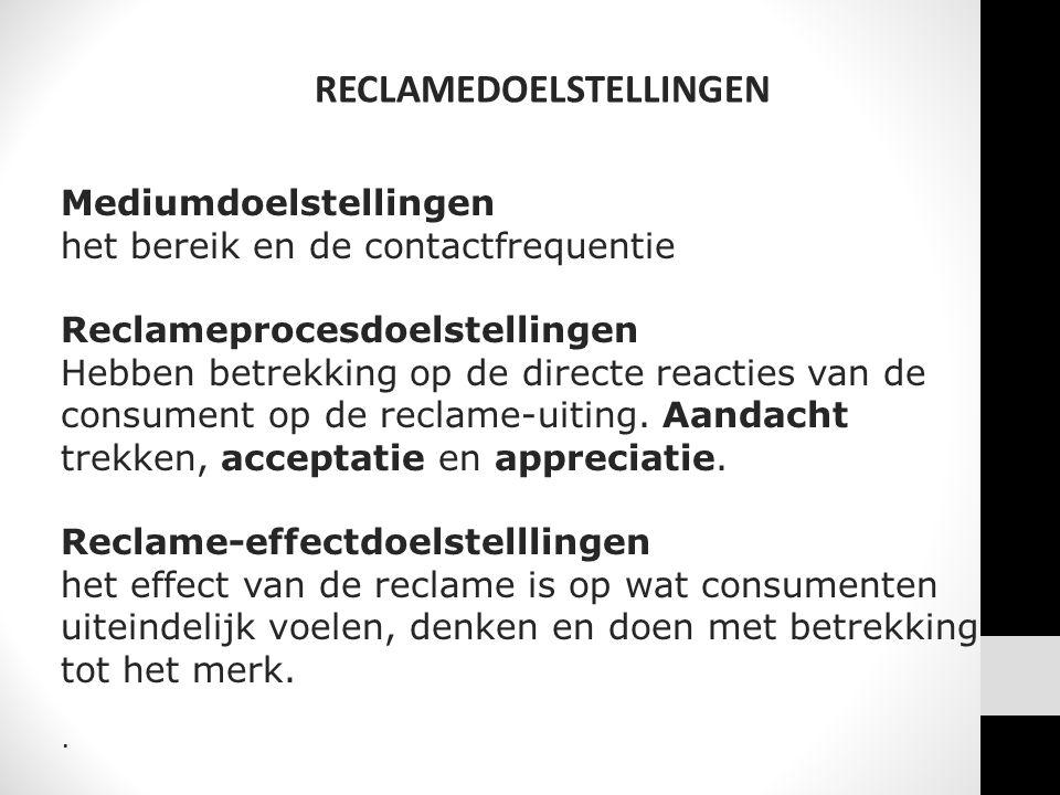 RECLAMEDOELSTELLINGEN Mediumdoelstellingen het bereik en de contactfrequentie Reclameprocesdoelstellingen Hebben betrekking op de directe reacties van de consument op de reclame-uiting.