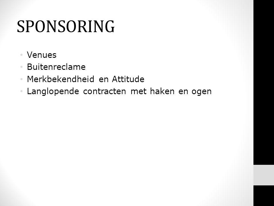 SPONSORING • Venues • Buitenreclame • Merkbekendheid en Attitude • Langlopende contracten met haken en ogen