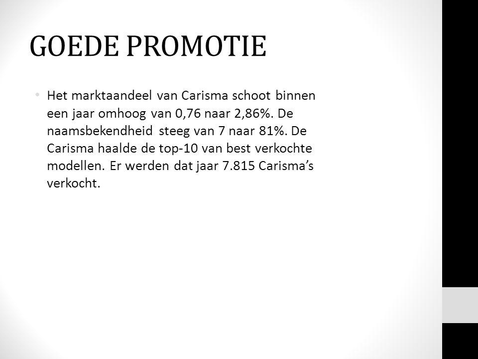 GOEDE PROMOTIE • Het marktaandeel van Carisma schoot binnen een jaar omhoog van 0,76 naar 2,86%.
