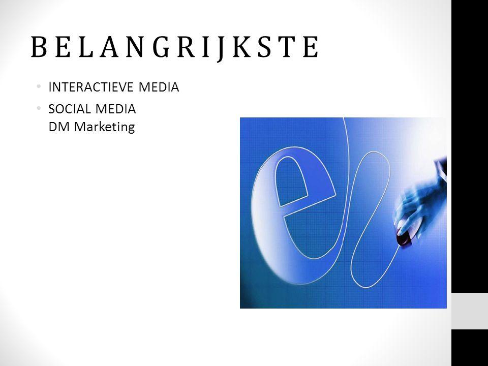 B E L A N G R I J K S T E • INTERACTIEVE MEDIA • SOCIAL MEDIA DM Marketing