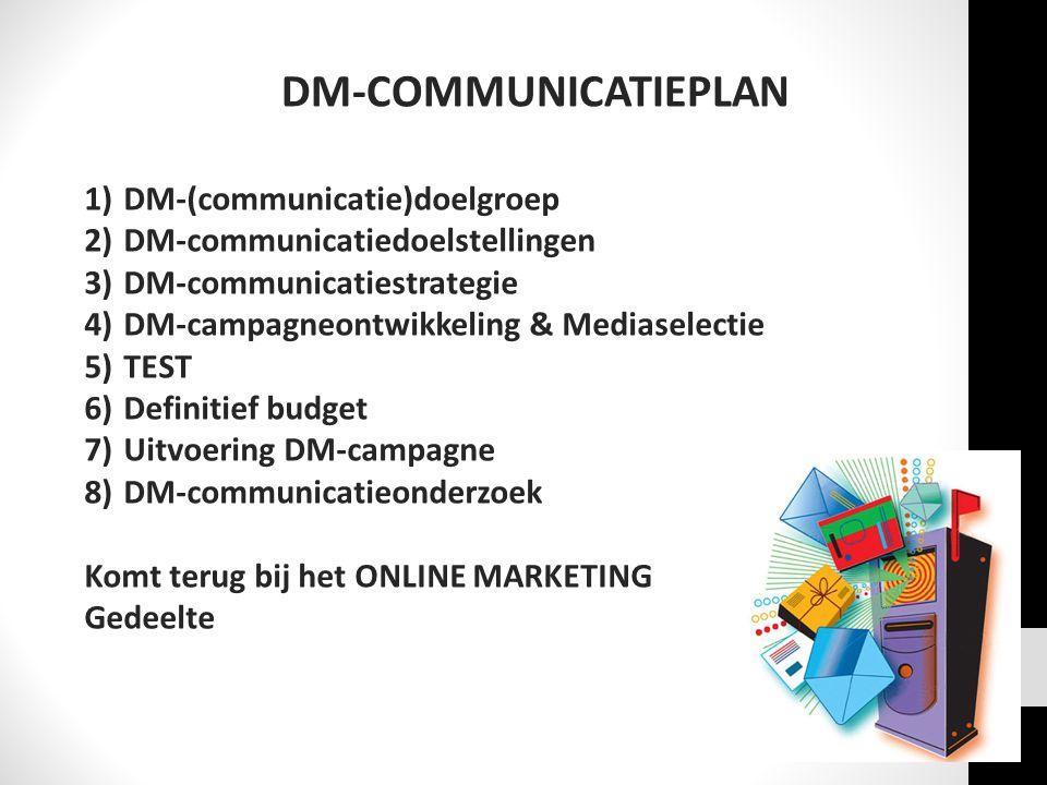 DM-COMMUNICATIEPLAN 1)DM-(communicatie)doelgroep 2)DM-communicatiedoelstellingen 3)DM-communicatiestrategie 4)DM-campagneontwikkeling & Mediaselectie 5)TEST 6)Definitief budget 7)Uitvoering DM-campagne 8)DM-communicatieonderzoek Komt terug bij het ONLINE MARKETING Gedeelte