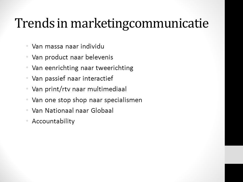 Trends in marketingcommunicatie • Van massa naar individu • Van product naar belevenis • Van eenrichting naar tweerichting • Van passief naar interactief • Van print/rtv naar multimediaal • Van one stop shop naar specialismen • Van Nationaal naar Globaal • Accountability