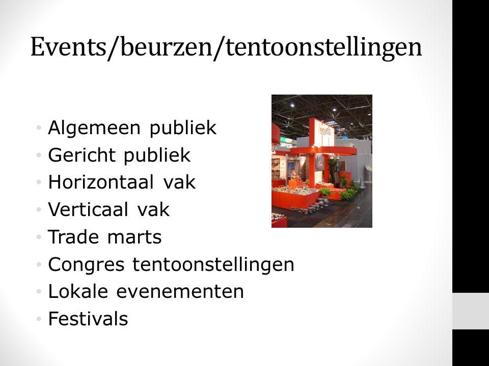 Events/beurzen/tentoonstellingen • Algemeen publiek • Gericht publiek • Horizontaal vak • Verticaal vak • Trade marts • Congres tentoonstellingen • Lokale evenementen • Festivals