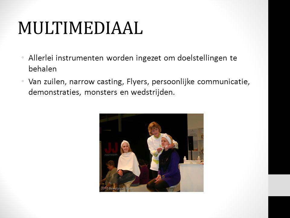 MULTIMEDIAAL • Allerlei instrumenten worden ingezet om doelstellingen te behalen • Van zuilen, narrow casting, Flyers, persoonlijke communicatie, demonstraties, monsters en wedstrijden.