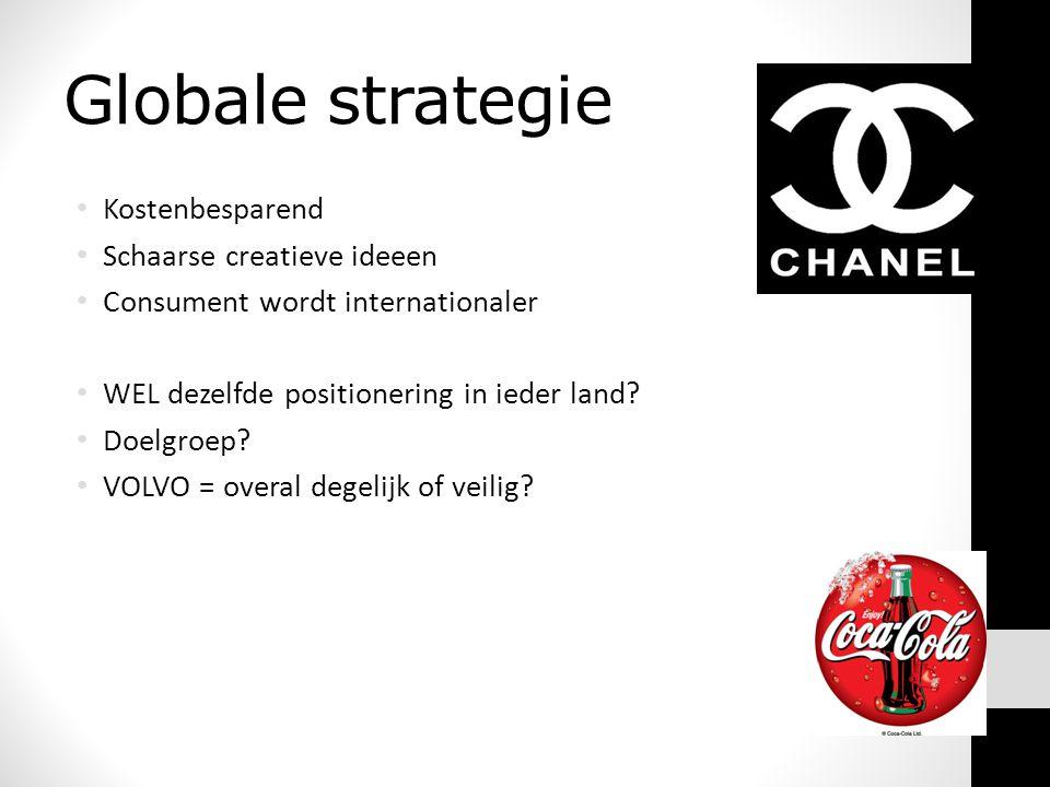 Globale strategie • Kostenbesparend • Schaarse creatieve ideeen • Consument wordt internationaler • WEL dezelfde positionering in ieder land.