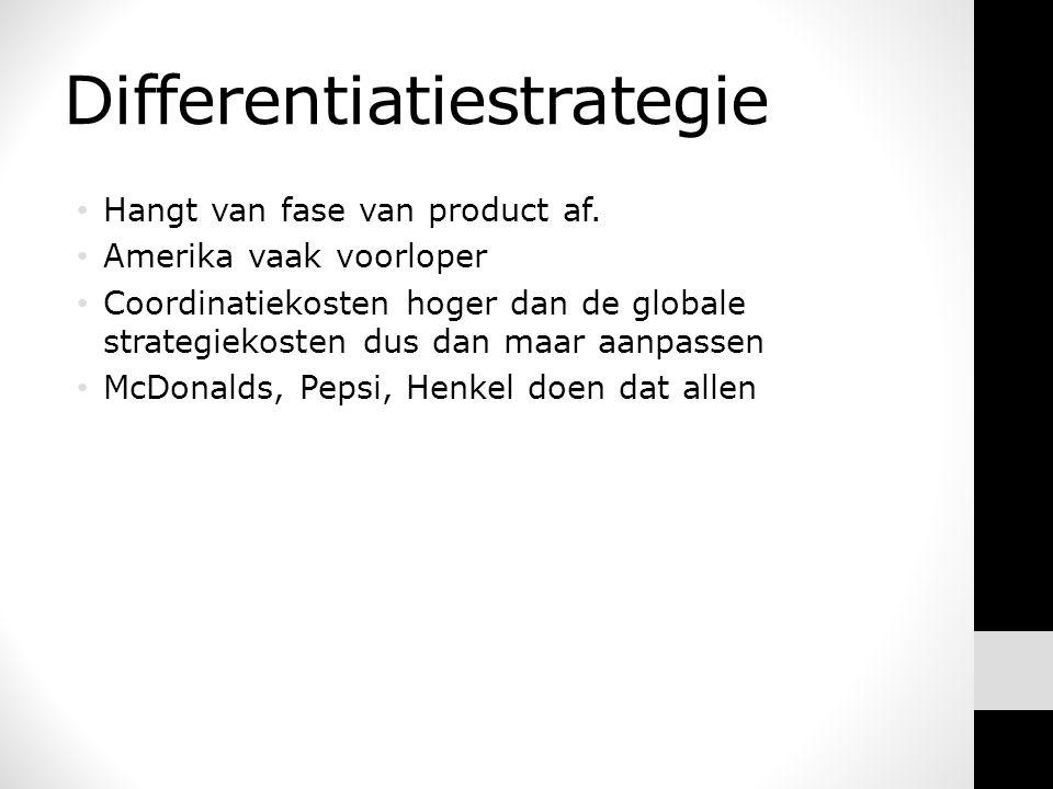 Differentiatiestrategie • Hangt van fase van product af.