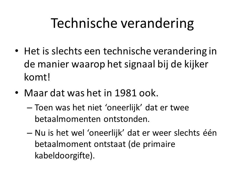 Technische verandering • Het is slechts een technische verandering in de manier waarop het signaal bij de kijker komt.