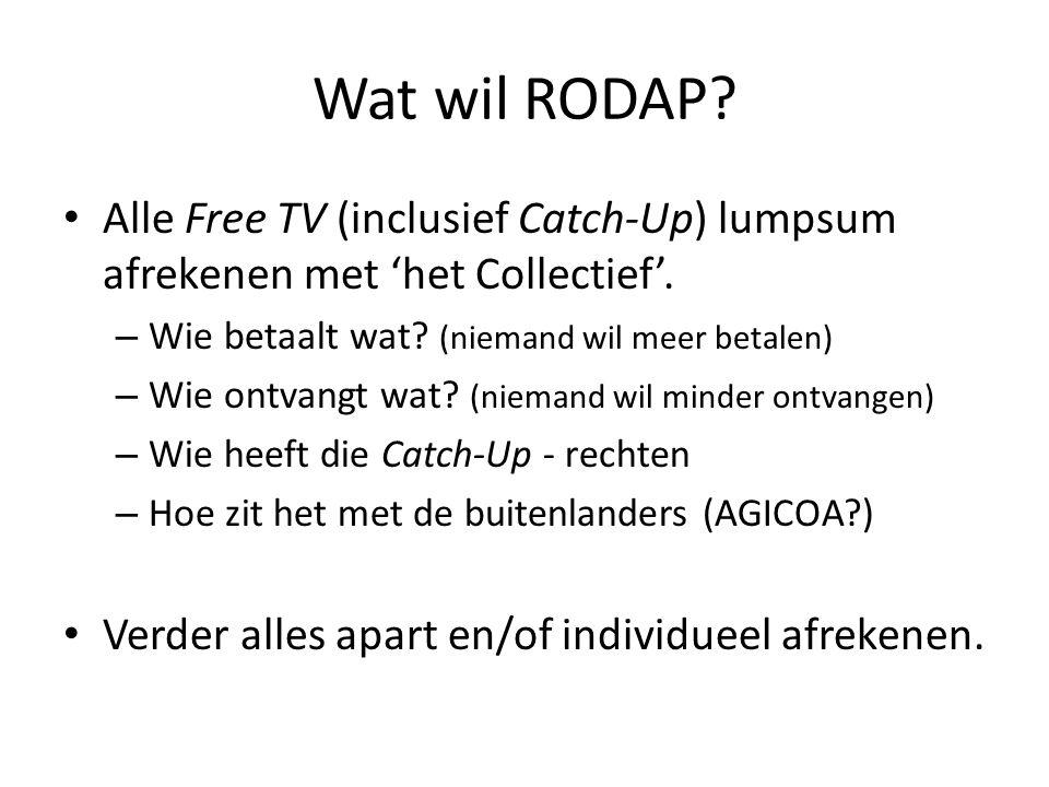 Wat wil RODAP. • Alle Free TV (inclusief Catch-Up) lumpsum afrekenen met 'het Collectief'.