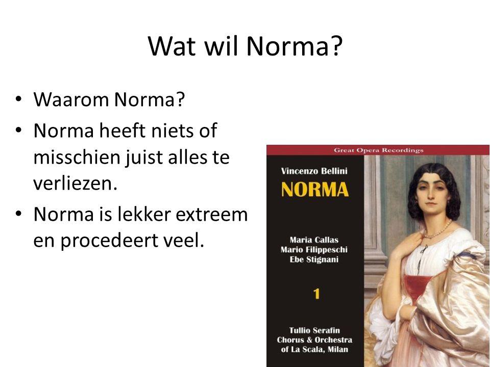 Wat wil Norma. • Waarom Norma. • Norma heeft niets of misschien juist alles te verliezen.