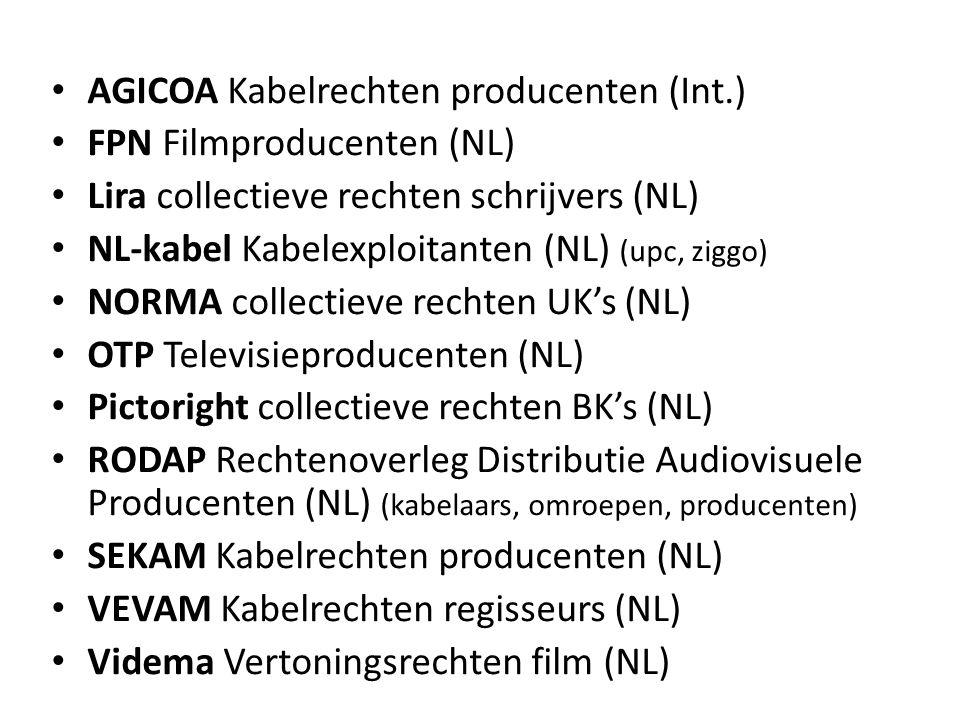 • AGICOA Kabelrechten producenten (Int.) • FPN Filmproducenten (NL) • Lira collectieve rechten schrijvers (NL) • NL-kabel Kabelexploitanten (NL) (upc, ziggo) • NORMA collectieve rechten UK's (NL) • OTP Televisieproducenten (NL) • Pictoright collectieve rechten BK's (NL) • RODAP Rechtenoverleg Distributie Audiovisuele Producenten (NL) (kabelaars, omroepen, producenten) • SEKAM Kabelrechten producenten (NL) • VEVAM Kabelrechten regisseurs (NL) • Videma Vertoningsrechten film (NL)