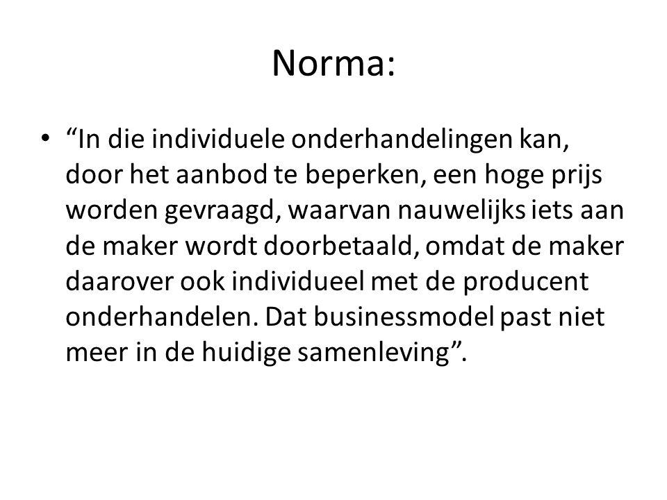 Norma: • In die individuele onderhandelingen kan, door het aanbod te beperken, een hoge prijs worden gevraagd, waarvan nauwelijks iets aan de maker wordt doorbetaald, omdat de maker daarover ook individueel met de producent onderhandelen.