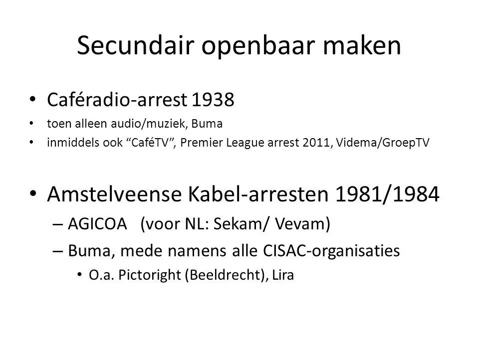 Secundair openbaar maken • Caféradio-arrest 1938 • toen alleen audio/muziek, Buma • inmiddels ook CaféTV , Premier League arrest 2011, Videma/GroepTV • Amstelveense Kabel-arresten 1981/1984 – AGICOA (voor NL: Sekam/ Vevam) – Buma, mede namens alle CISAC-organisaties • O.a.
