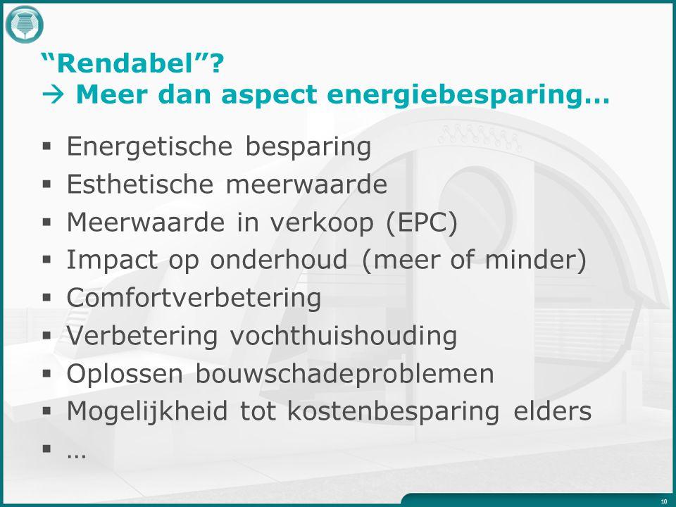 """""""Rendabel""""?  Meer dan aspect energiebesparing…  Energetische besparing  Esthetische meerwaarde  Meerwaarde in verkoop (EPC)  Impact op onderhoud"""
