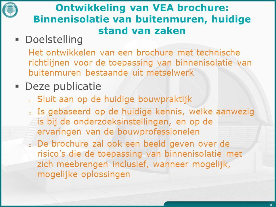 Ontwikkeling van VEA brochure: Binnenisolatie van buitenmuren, huidige stand van zaken  Doelstelling Het ontwikkelen van een brochure met technische