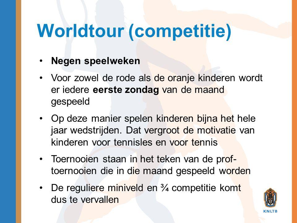 Worldtour (competitie) •Negen speelweken •Voor zowel de rode als de oranje kinderen wordt er iedere eerste zondag van de maand gespeeld •Op deze manie