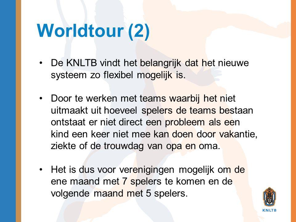 Worldtour (2) •De KNLTB vindt het belangrijk dat het nieuwe systeem zo flexibel mogelijk is. •Door te werken met teams waarbij het niet uitmaakt uit h