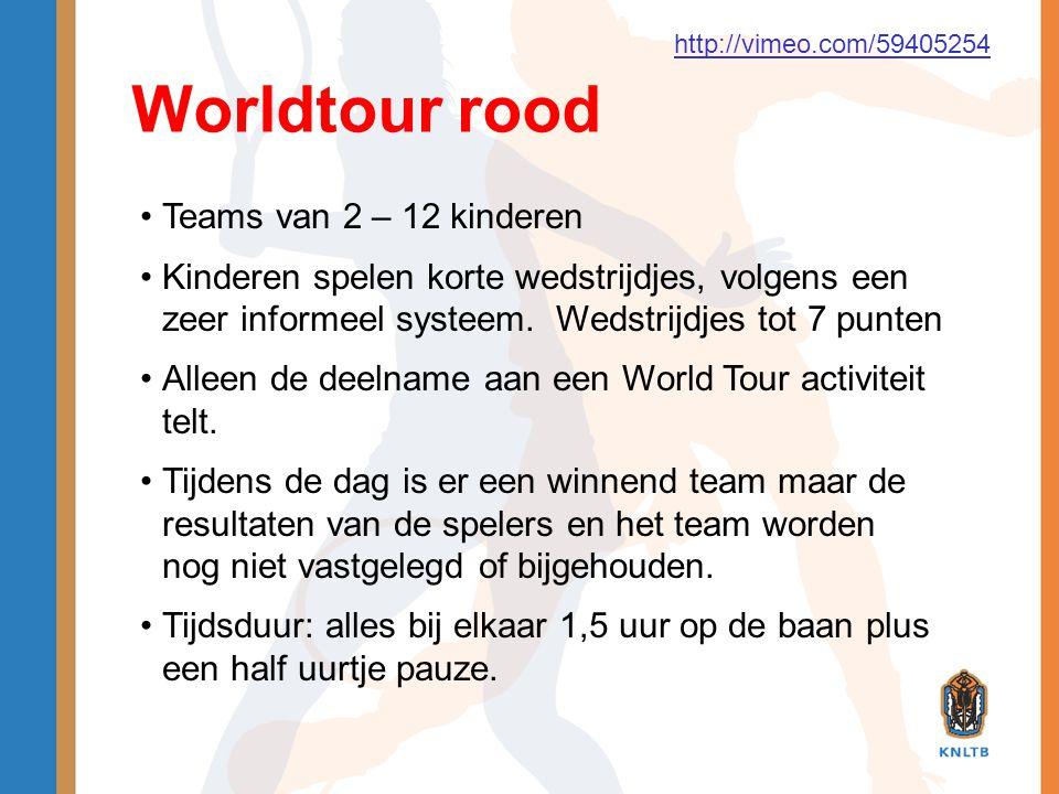 Worldtour rood •Teams van 2 – 12 kinderen •Kinderen spelen korte wedstrijdjes, volgens een zeer informeel systeem. Wedstrijdjes tot 7 punten •Alleen d