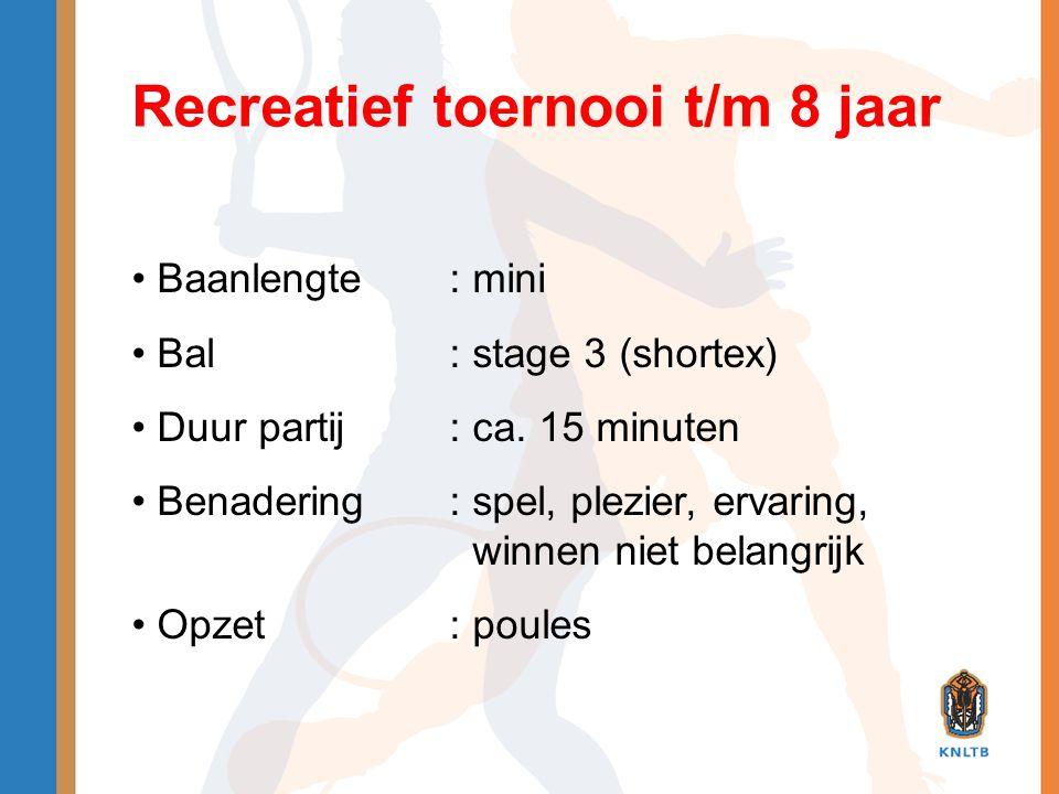 Recreatief toernooi t/m 8 jaar • Baanlengte: mini • Bal: stage 3 (shortex) • Duur partij: ca. 15 minuten • Benadering: spel, plezier, ervaring, winnen
