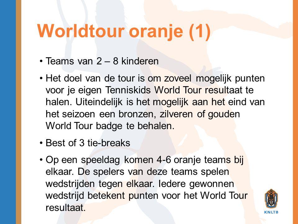 Worldtour oranje (1) •Teams van 2 – 8 kinderen •Het doel van de tour is om zoveel mogelijk punten voor je eigen Tenniskids World Tour resultaat te hal