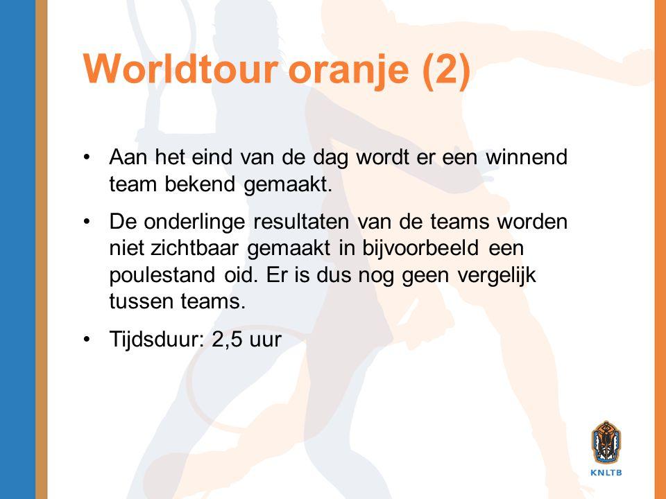 Worldtour oranje (2) •Aan het eind van de dag wordt er een winnend team bekend gemaakt. •De onderlinge resultaten van de teams worden niet zichtbaar g