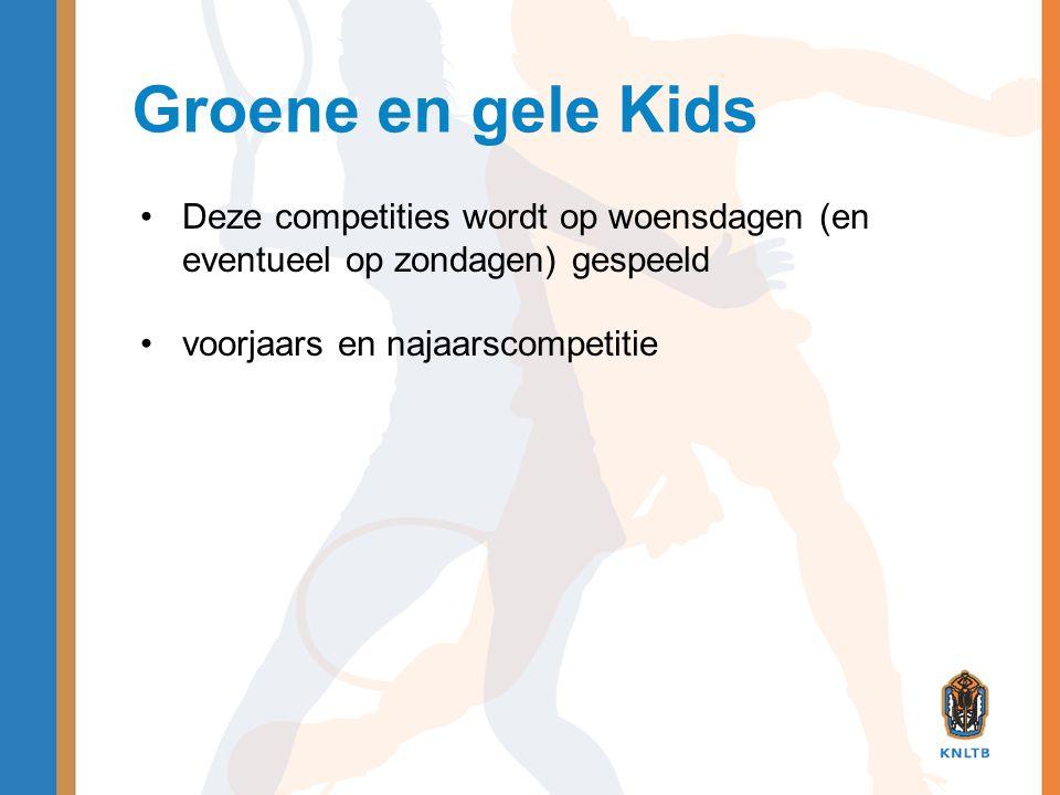 Groene en gele Kids •Deze competities wordt op woensdagen (en eventueel op zondagen) gespeeld •voorjaars en najaarscompetitie
