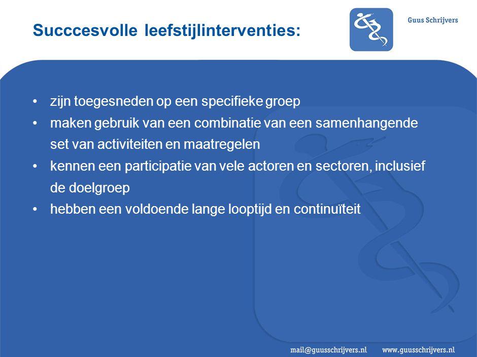 Succcesvolle leefstijlinterventies: •zijn toegesneden op een specifieke groep •maken gebruik van een combinatie van een samenhangende set van activiteiten en maatregelen •kennen een participatie van vele actoren en sectoren, inclusief de doelgroep •hebben een voldoende lange looptijd en continuïteit