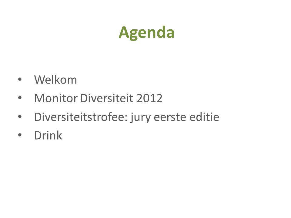 • Welkom • Monitor Diversiteit 2012 • Diversiteitstrofee: jury eerste editie • Drink Agenda