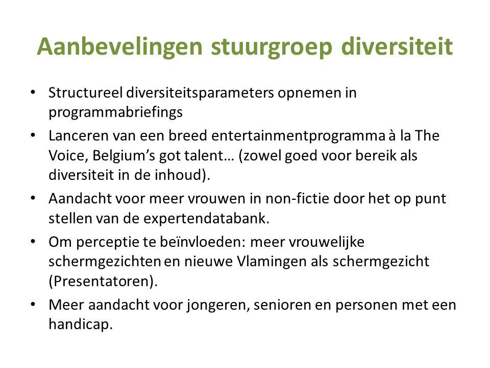 Aanbevelingen stuurgroep diversiteit • Structureel diversiteitsparameters opnemen in programmabriefings • Lanceren van een breed entertainmentprogramm