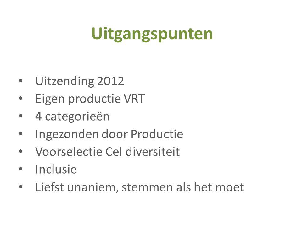 • Uitzending 2012 • Eigen productie VRT • 4 categorieën • Ingezonden door Productie • Voorselectie Cel diversiteit • Inclusie • Liefst unaniem, stemme