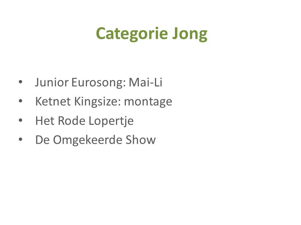 • Junior Eurosong: Mai-Li • Ketnet Kingsize: montage • Het Rode Lopertje • De Omgekeerde Show Categorie Jong