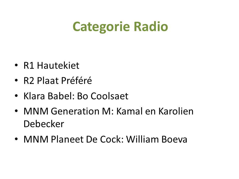• R1 Hautekiet • R2 Plaat Préféré • Klara Babel: Bo Coolsaet • MNM Generation M: Kamal en Karolien Debecker • MNM Planeet De Cock: William Boeva Categ