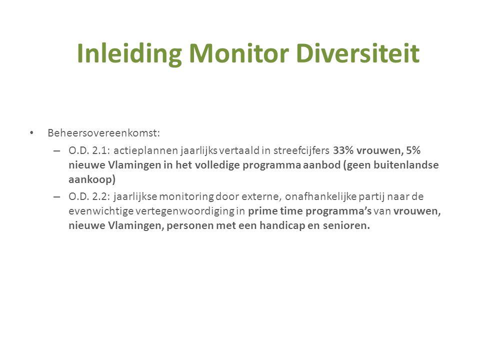 • Beheersovereenkomst: – O.D. 2.1: actieplannen jaarlijks vertaald in streefcijfers 33% vrouwen, 5% nieuwe Vlamingen in het volledige programma aanbod