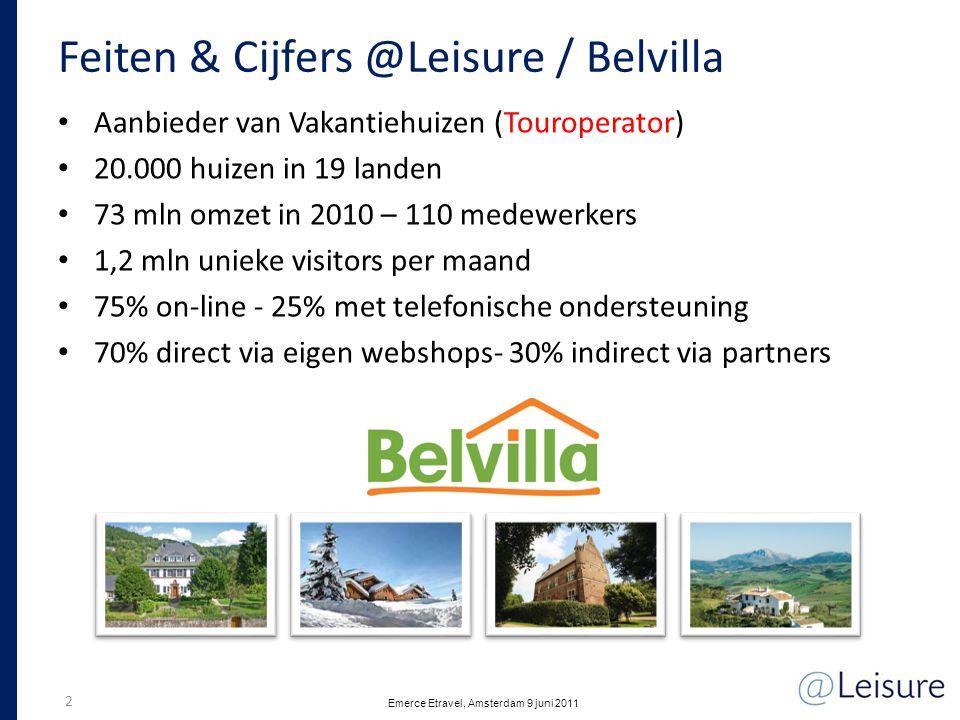 Feiten & Cijfers @Leisure / Casamundo • Aanbieder van Vakantiehuizen (Aggregator) zoals Booking.com • 220.000 huizen in 33 landen • 85% on-line - 15% met telefonische ondersteuning • Alles direct via eigen webshops- geen distibutiepartners 3 Emerce Etravel, Amsterdam 9 juni 2011