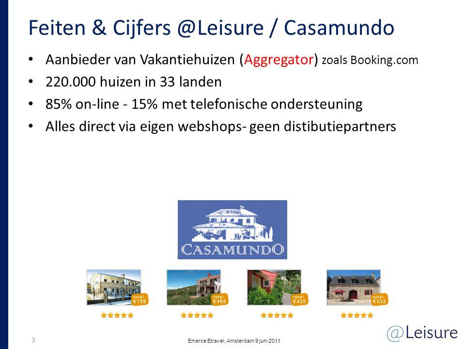 Feiten & Cijfers @Leisure / Casamundo • Aanbieder van Vakantiehuizen (Aggregator) zoals Booking.com • 220.000 huizen in 33 landen • 85% on-line - 15%