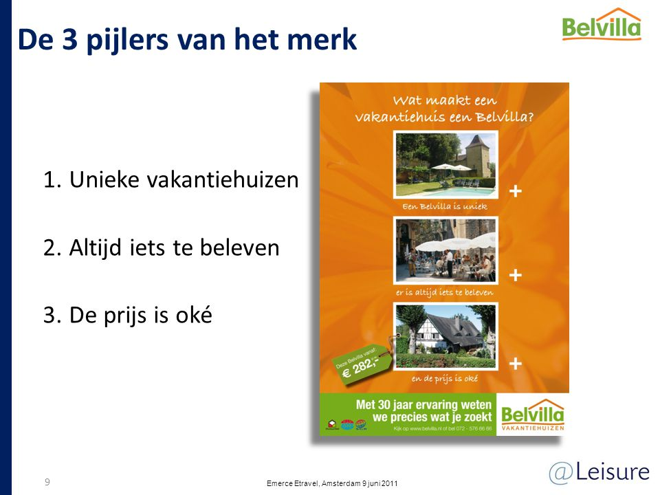 De 3 pijlers van het merk 1.Unieke vakantiehuizen 2.Altijd iets te beleven 3.De prijs is oké 9 Emerce Etravel, Amsterdam 9 juni 2011