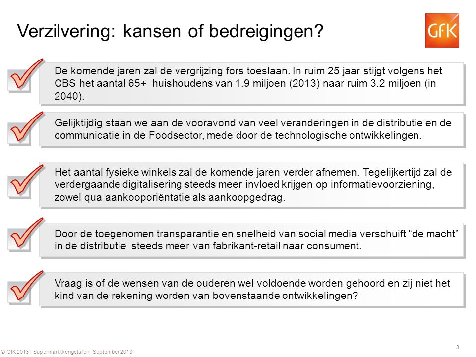 4 © GfK 2013   Supermarktkengetallen   September 2013 Samenvatting verzilvering De 65+ huishoudens zijn op dit moment goed voor € 8.1 miljard supermarktomzet.
