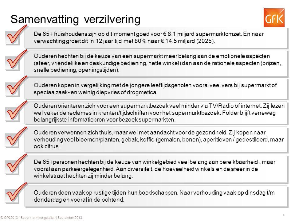 4 © GfK 2013 | Supermarktkengetallen | September 2013 Samenvatting verzilvering De 65+ huishoudens zijn op dit moment goed voor € 8.1 miljard supermarktomzet.