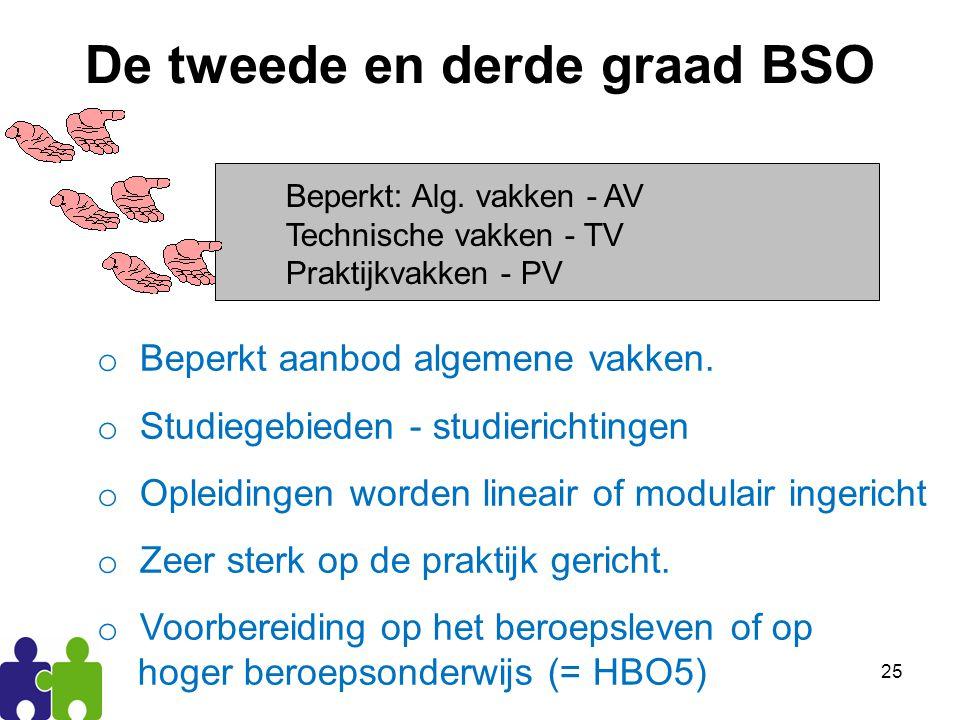 25 De tweede en derde graad BSO Beperkt: Alg.