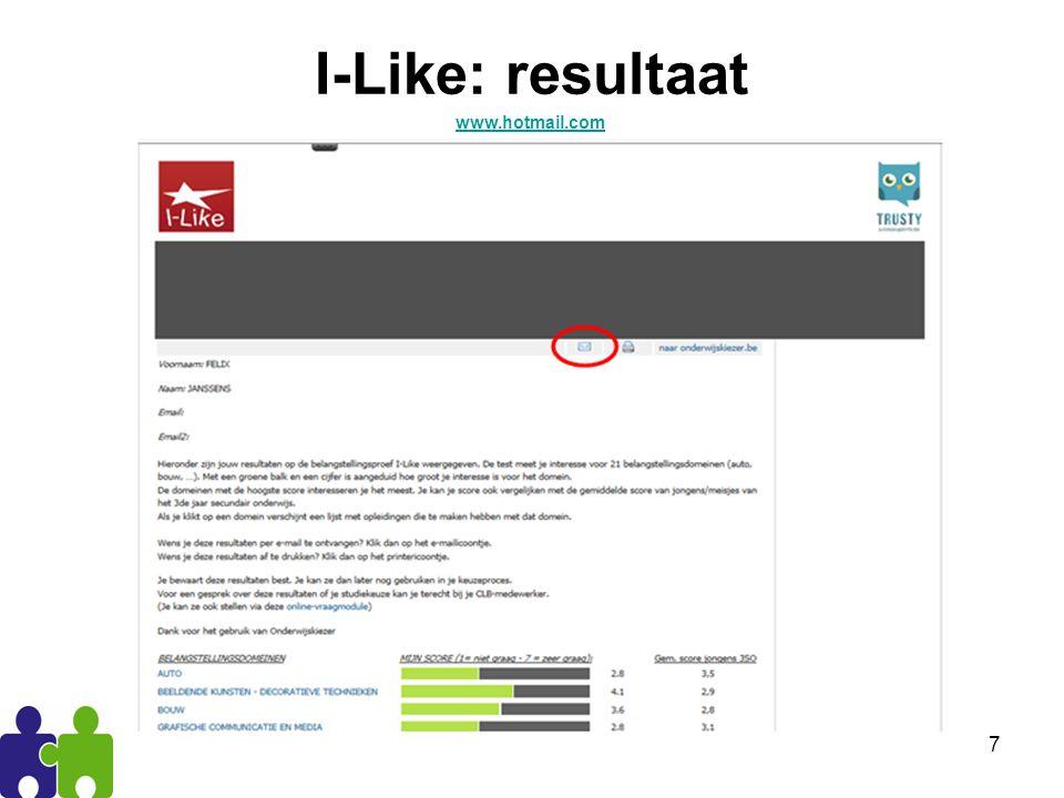 7 I-Like: resultaat www.hotmail.com
