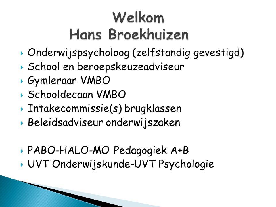  Onderwijspsycholoog (zelfstandig gevestigd)  School en beroepskeuzeadviseur  Gymleraar VMBO  Schooldecaan VMBO  Intakecommissie(s) brugklassen 